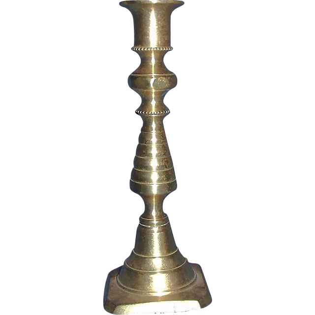 "Rare SMALL Brass ""Beehive Candlestick Holder"" with Stub Remover Ca 1865 !"