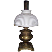 Brass Table Oil Lamp with 10 inch White Melon Shade, Ca. 1880 !