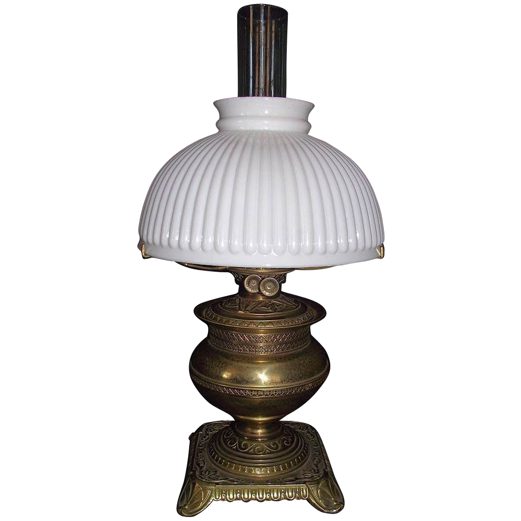 Brass Table Oil Lamp with 10 inch White Melon Ribbed Shade, Ca. 1880 !
