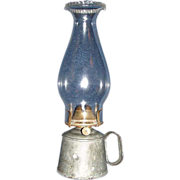 Small Galvanized Metal Work Hand-Lamp with # 1 Pearl Top Chimney & Burner !  Ca. Post 1870's