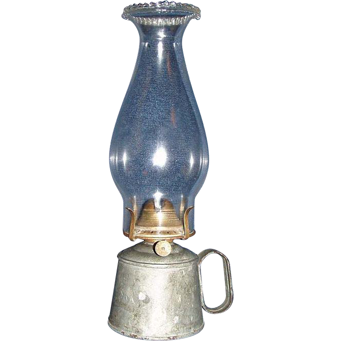 Small Galvanized Metal Work Lamp with # 1 Pearl Top Chimney Lamp & Burner.  Circa post 1870's