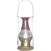Tin Candle Lantern with Parade Painted Rare Pedal Top Chimney !!!
