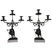 Rare Pair of Civil War Period Triple Girandole Candle Holders !!! Circa 1845.