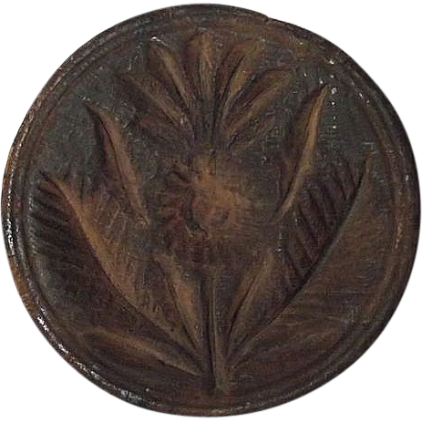 "Rare ""Pineapple & Palm Leaves"" Butter Print or Stamp ! Circa 1800's."