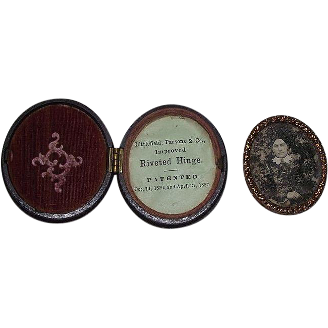Rare Oval Thermoplastic Case with Paper Label & Civil War Period Woman Daguerreotype Circa 1860's !!!