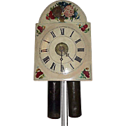 "Early 19th Century ""Wag-On-Wall Clock"" Working 30 Hour Time & Strike / Wood & Brass Gear Movement !!! Alarm disconnected."
