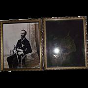 "Original Civil War Veteran ""Glass Plate Negative & Paper Photo Set"" both 8 by 10 inches !!! Circa 1892."