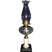 "Rare Stoneware Stem Oil Lamp with ""Eastlake"" Decoration Circa 1880's !!!"