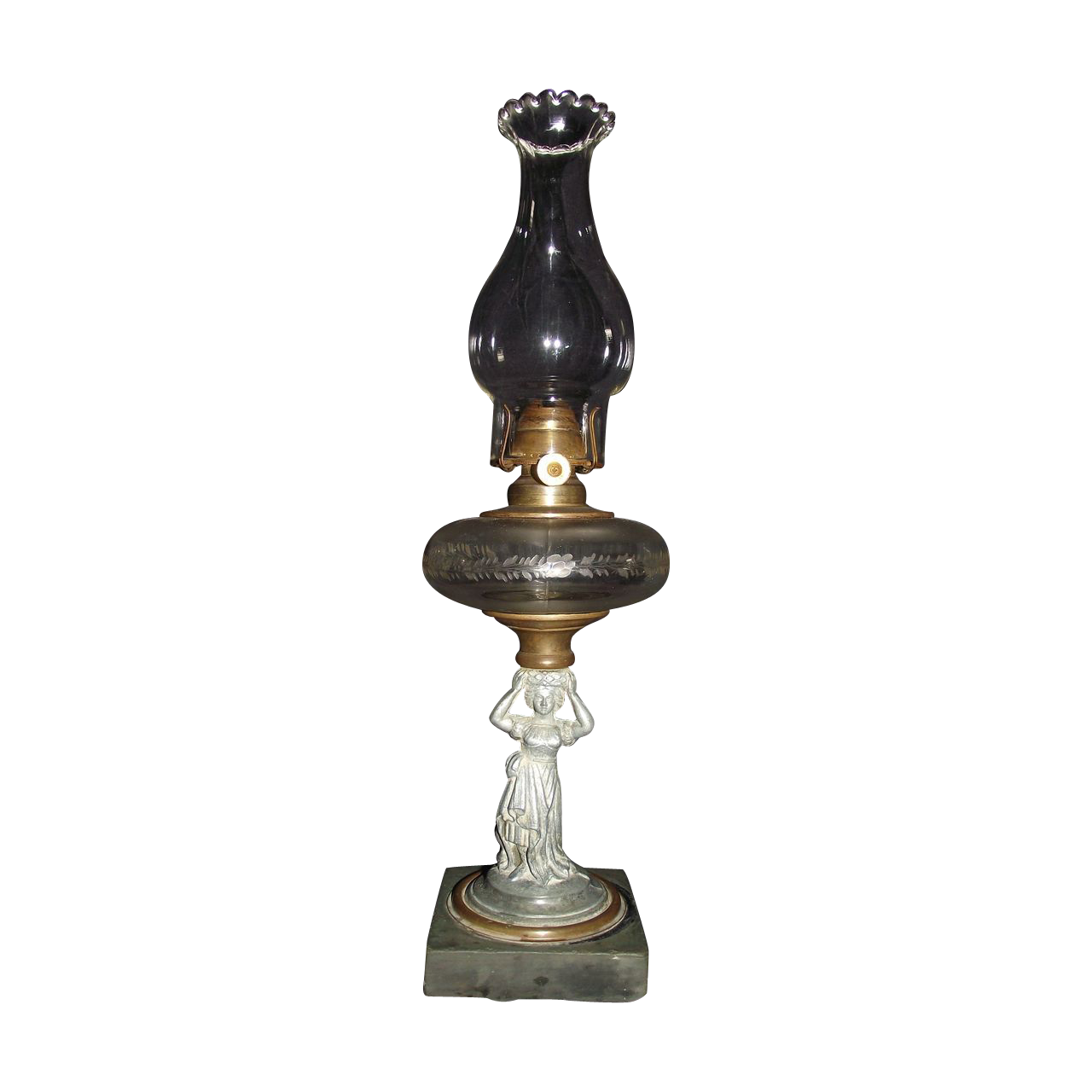 "Rare Figural ""Woman Holding Engraved Fount on Head"" Circa 1870's  Oil Lamp with a Petal Top Chimney !!!"