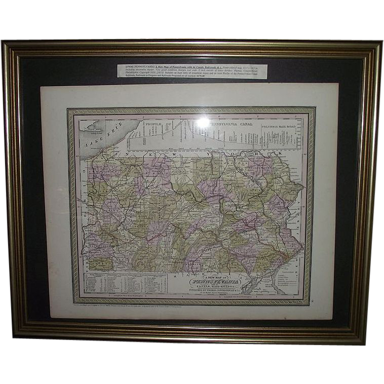"Early ""Canals & Railroads Map"" of Pennsylvania Printed Circa 1850-55 !!!"
