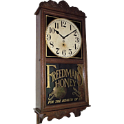 "Rare Acid-Etched & Gilded ""Freedman's Honey"" Advertising Oak Wall Regulator Clock made by The New Haven Clock Co.  Circa 1897 !!!"