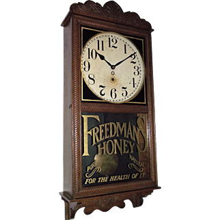"""Rare Acid-Etched & Gilded """"Freedman's Honey"""" Advertising Oak Wall Regulator Clock made by The New Haven Clock Co.  Circa 1897 !!!"""