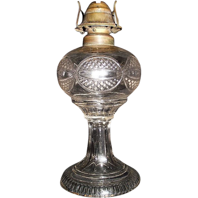 "Early ""Eyewinker"" Pattern One Piece EAPG  Oil Lamp with Zero Burner & Chimney Circa 1865 !!!"