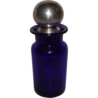 "Cobalt Blue Blown Glass Dresser Jar & Stopper with ""Sterling"" Silver Cover Circa 1880 !!!"