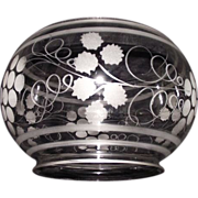 Mint Blown & Etched Glass Shade with 5 inch base Fitter Circa 1880  !!!