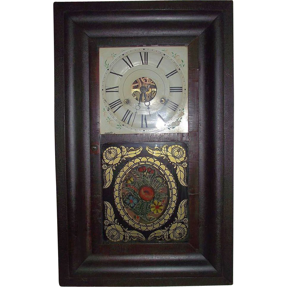 "Rare Reverse Painted ""Tole Pattern"" Glass on Seth Thomas Ogee Clock Ca. 1840's to 1850's."