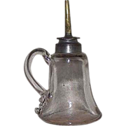 "Pre Civil War ""Sparking Lamp"" with Applied Finger Loop complete with Original Pewter Camphene Burner & Collar !!! Circa 1830's to 1855."