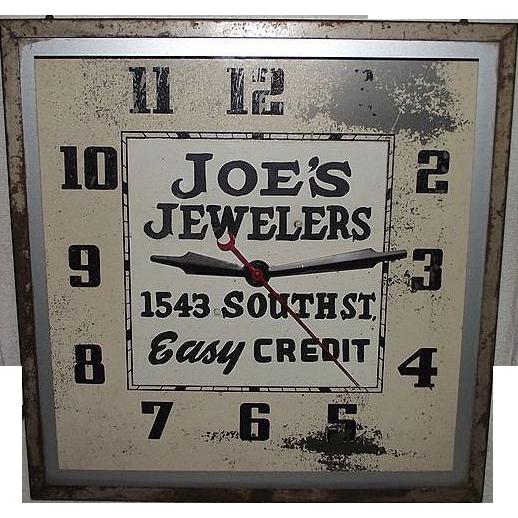 """Joe's Jewelers"" Electric Advertising Clock ! Circa 1940's."