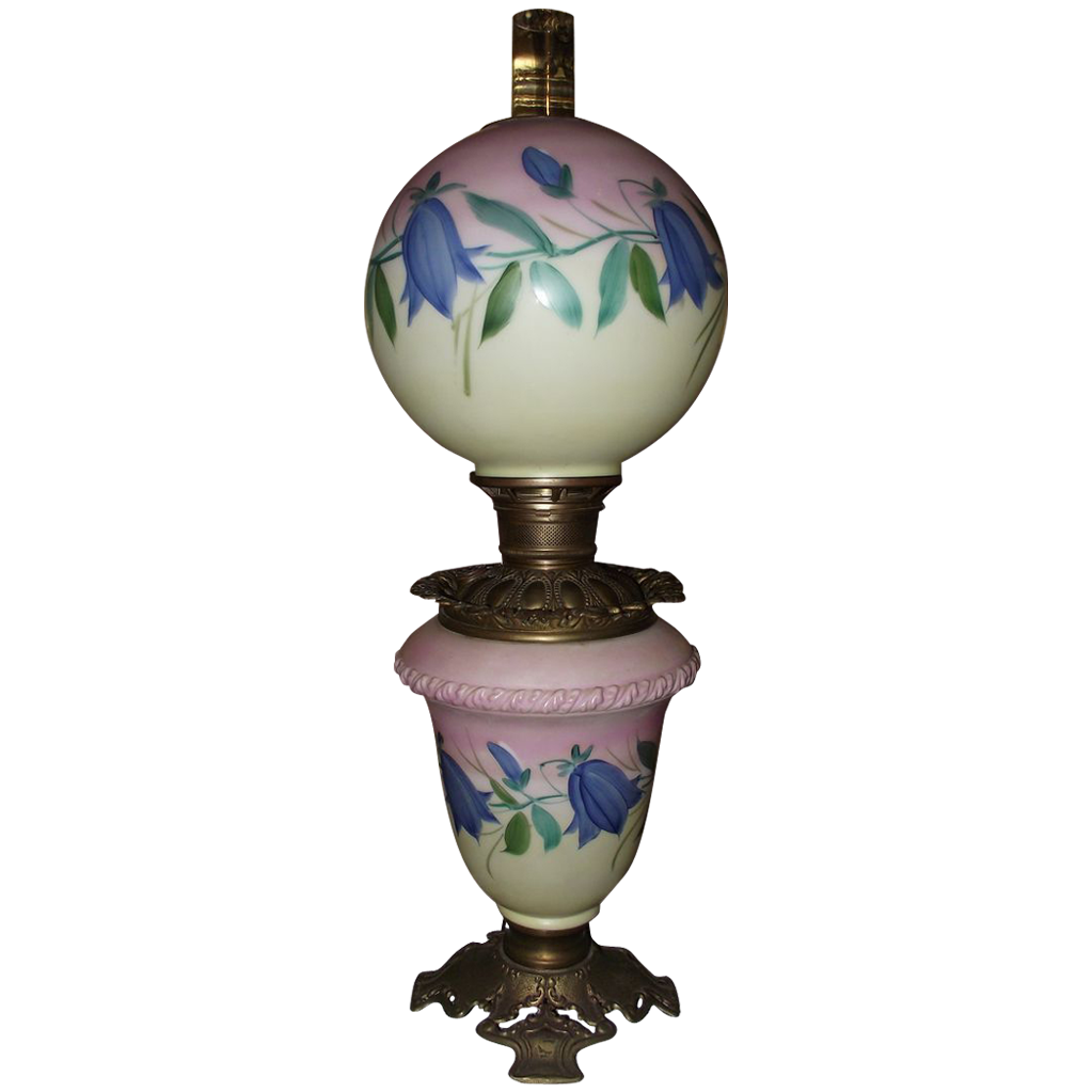 "Electrified  GWTW ""Blue Flowers""  Original Hand Painted Base & Ball Shade !!! Circa 1910."