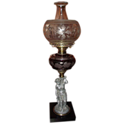 Rare Figural Stem Oil Lamp with Red Flashed & Engraved Fount !!! Circa 1870's.