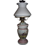 Bristol Decorated Vase Oil Lamp with Shade !!! Circa 1900.