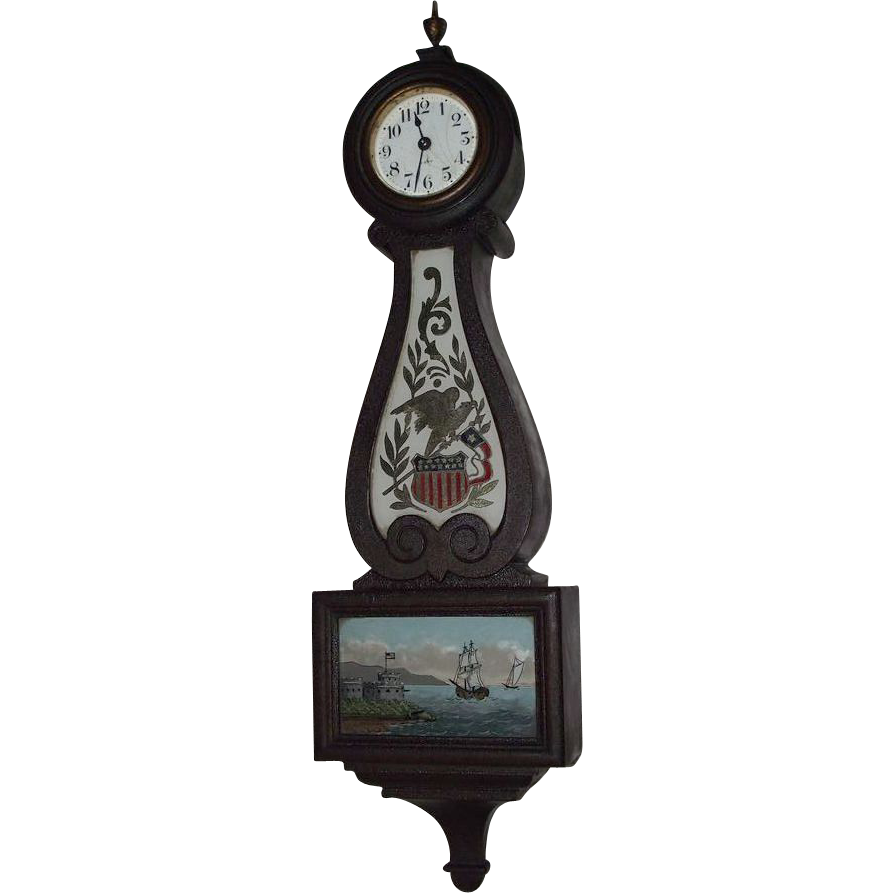 Rare Miniature Seth Thomas 8 Day Banjo Clock with Patriotic Reverse Painted Glass Tablets !!! Circa 1920's.