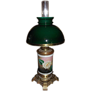 "Rare ""Water Lily"" Vase Oil Lamp with Cased Green Glass Student Lamp Shade & Duplex Burner  !!!"