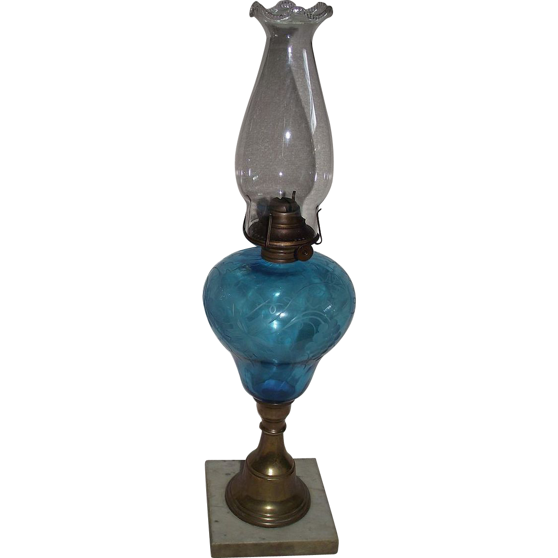 "Blue Glass Engraved ""Grapes & Vine"" pattern on Oil Lamp Circa 1920's !!!"