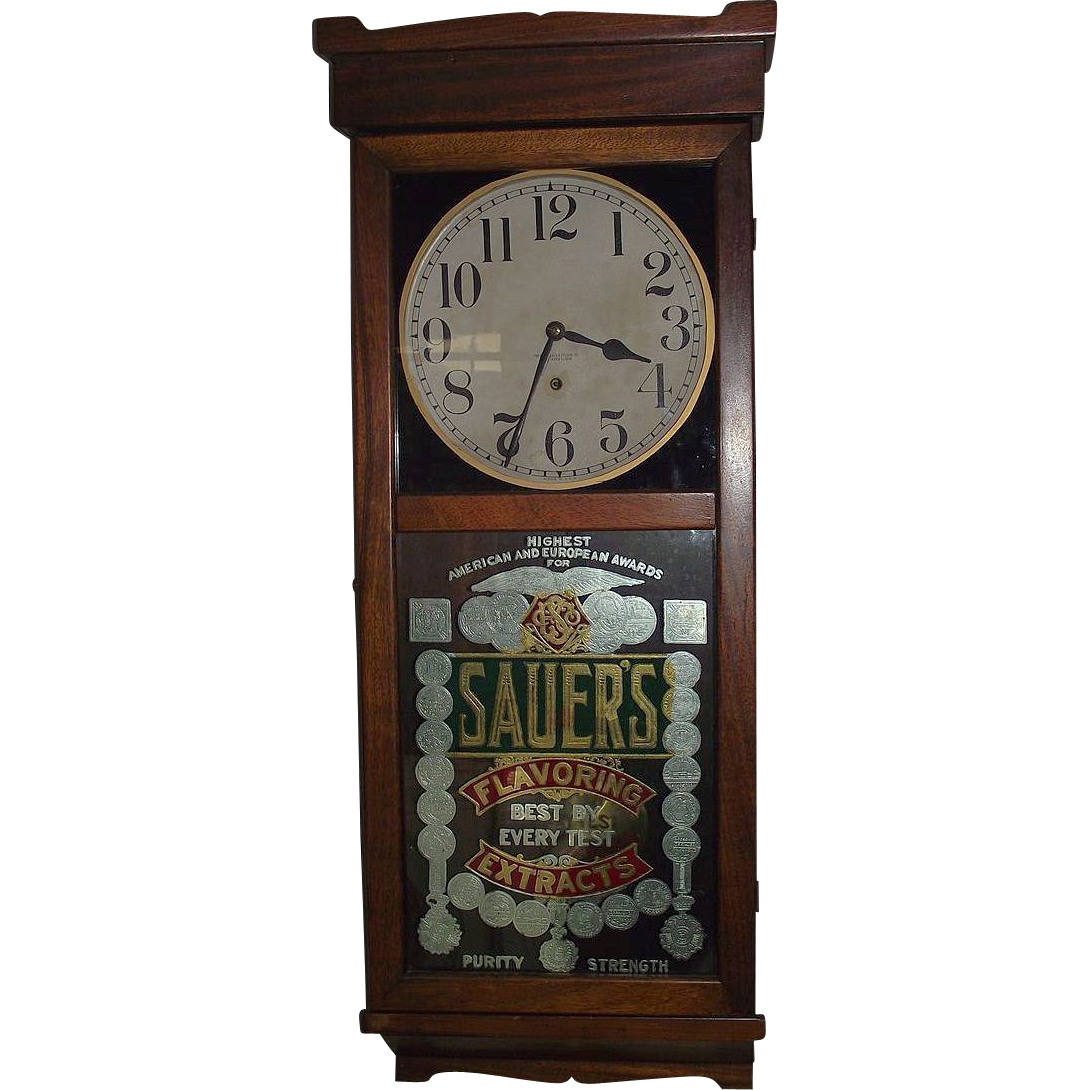 Mahogany Sauer 39 S Extract Advertising Clock Made By New