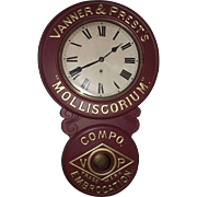 "Original  ""Vanner &  Prest's * Molliscorium * Compo Embrocation Trade Mark"" Advertising Clock with Restored Paint, circa 1905 to 1910 !!!"