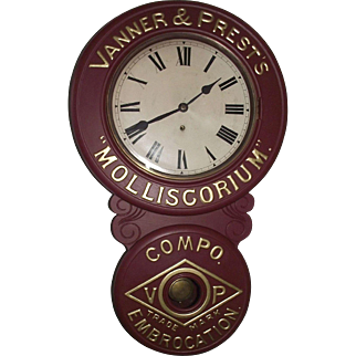 "Restored ""Vanner &  Prest's * Molliscorium * Compo Embrocation Trade Mark"" Advertising Clock Circa  1905 to 1910 !!!"