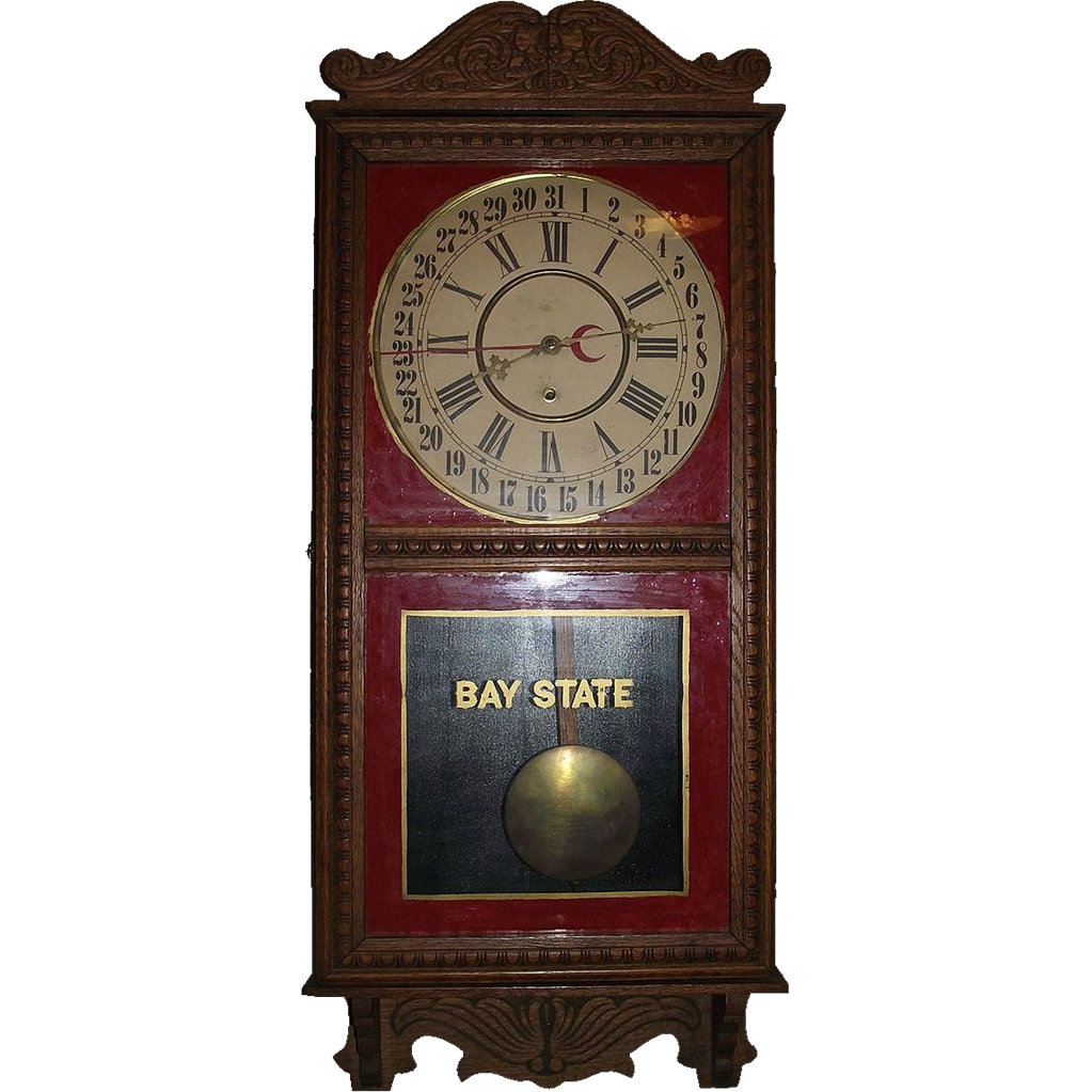 "Solid Oak ""Bay State"" marked Store Regulator Calendar Clock with Lion Head Carving on Crest !!! Ca. 1920."
