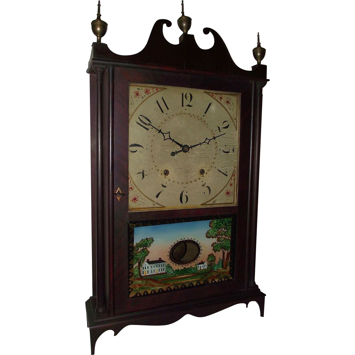 "Authentic ""Eli Terry & Sons Pillar & Scroll Clock"" with Original Mahogany Finish !!!"