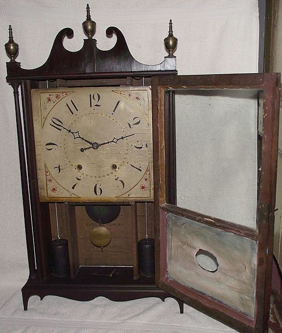 """Authentic Scrolls: Authentic """"Eli Terry & Sons Pillar & Scroll Clock"""" With"""