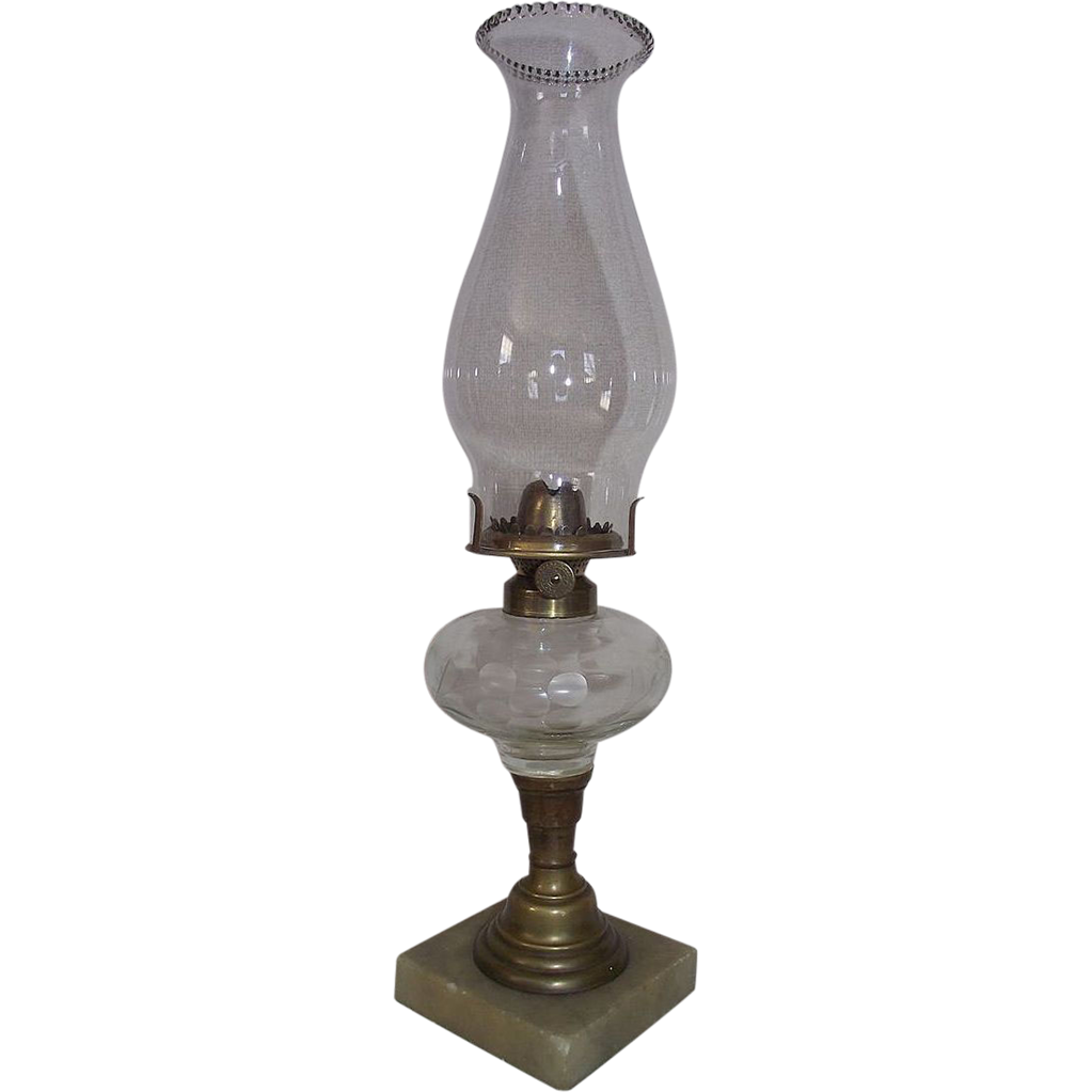 "Civil War Period Cut ""Flower & Vine"" Pattern Oil Lamp with a Rare Chimney Adapter !!!"