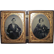 Rare Double Civil War Period Young Patriotic Couple Daguerreotypes in a Thermoplastic Case Circa 1860's !!!