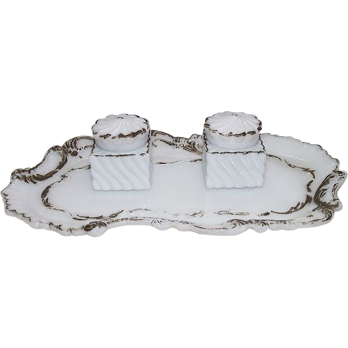 Ladies Matching inkwells in Milk Glass with Tray Circa 1900 !