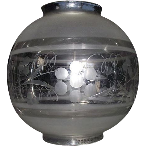 "Engraved with Frosted Bands ""Hall Lamp Ball Shade"" with 4 1/4 inch Top & Bottom Fitters !!! Ca. 1870."