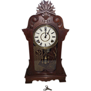 """Eastlake Pattern"" Black Walnut Shelf Clock with Time & Strike !!! Ca. 1886."