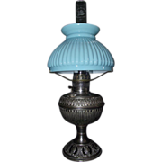 "Miniature marked ""The B&H"" Nickel Plated Metal Table Lamp with Fabulous Cased Blue over White Melon Shade !!! Circa 1905."