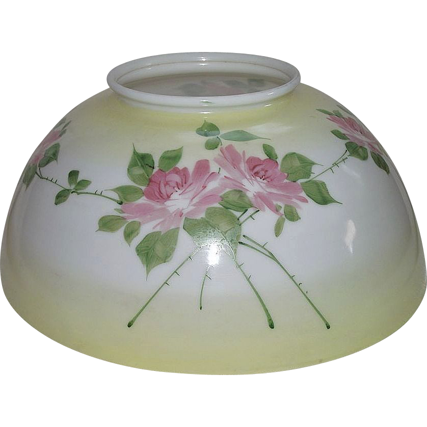 "Antique 14 inch Blown Glass Shade with Original Factory Artist Painted 4 Sided ""ROSES"" Decorations with Yellow Banded background Shading !!!"