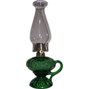"Green Glass ""Erin Fan"" Pattern Footed Finger Oil Lamp Circa 1880 with a #1 size EL-Dorado Burner &  Pearl Top Chimney !"