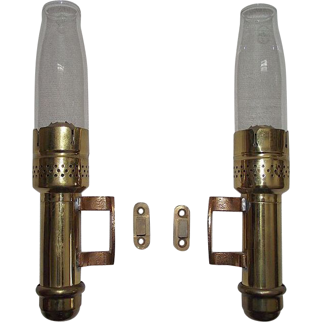 Rare Pair of Polished Brass Postal Candle Sconces with Pyrex marked Chimneys !