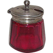 Blown Cranberry Glass Condiments Jar with Cut & Fluted Sides !!!