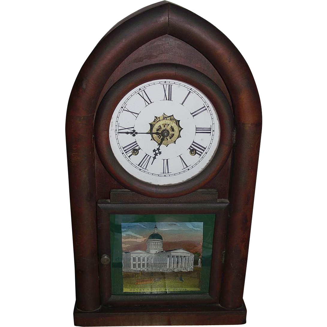 "Waterbury ""Beehive"" Shelf Clock with Time & Strike, and Alarm, with ""Court House,St. Louis"" Glass Tablet Circa 1850's !!!"