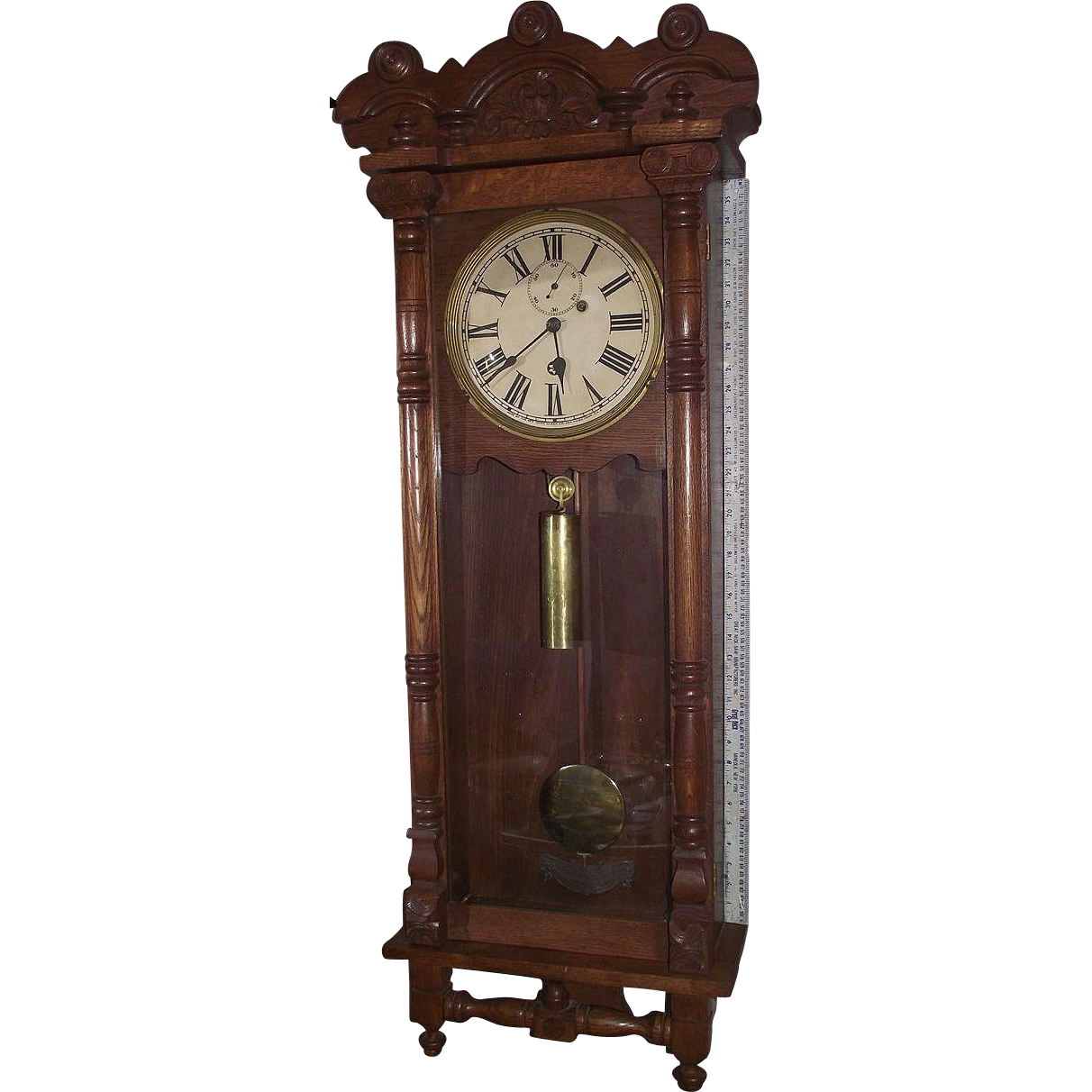 "Large Weight Driven ""New Haven*Elfrida"" Oak Carved Wall Regulator with Seconds Bit !!! Circa 1896."