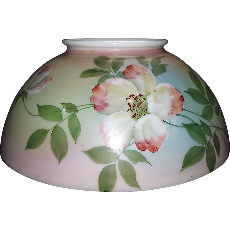 "Antique 14 inch Blown Glass Library Lamp Shade with Original Factory Artist Painted ""Flower"" Decorations with overall Pink, Blue & Green background shading !!! Circa 1890."