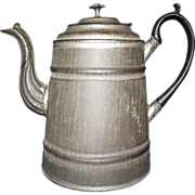 American Transitional Tinsmith produced Tea Pot made with Pre-Cast Iron Handle & Stamped Tin Spout Circa 1860's to 1870's !