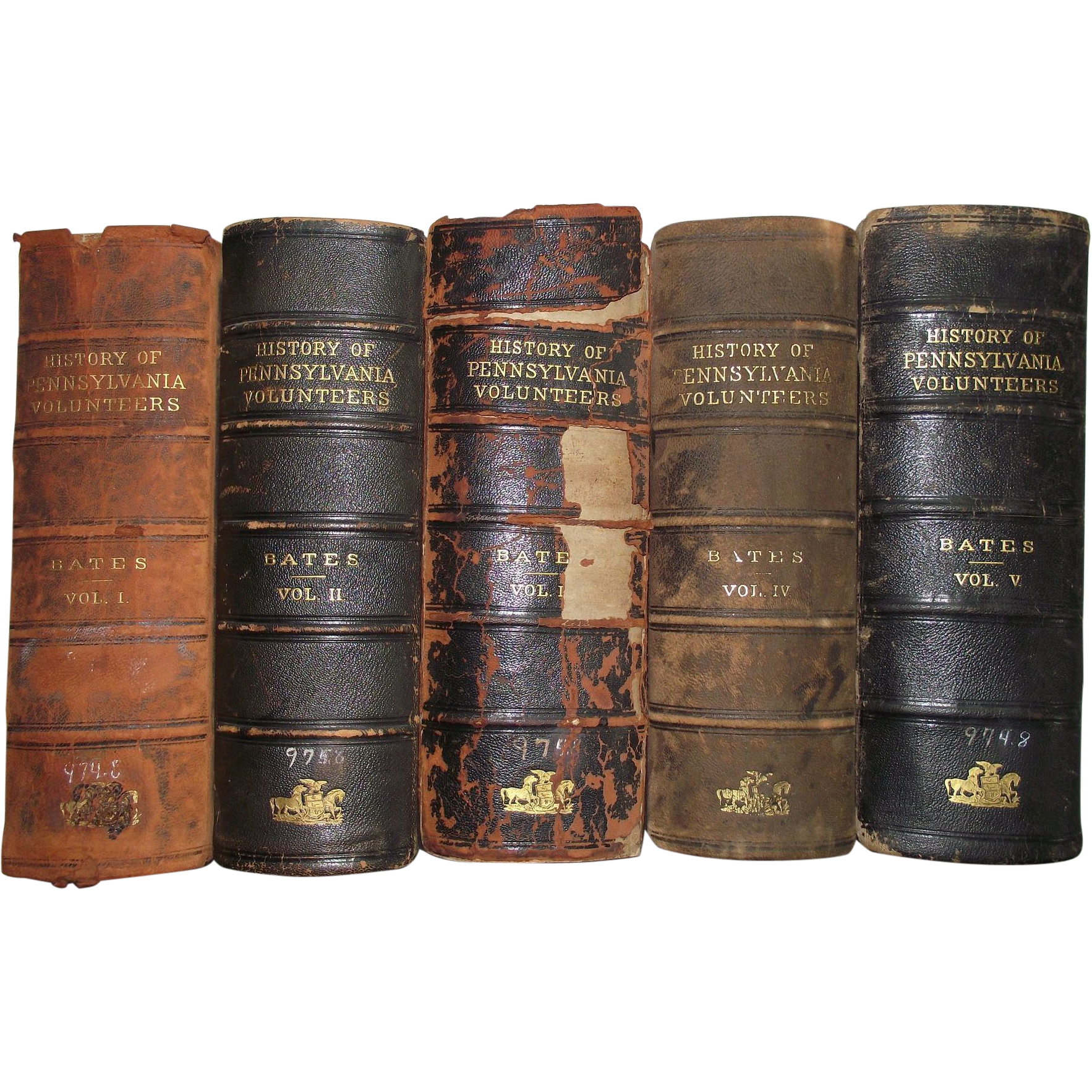 "5 Volume Set ""Pennsylvania Volunteers Regiments in the Civil War"" with Original Fold-Out Maps inside By Bates !!!"