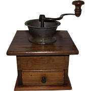 Civil War Period Hand Dovetailed Pine Wood Coffee Grinder/Mill with Pewter Spout Circa 1855 !!!